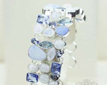GENUINE Australian DOUBLET Opal Moonstone Swiss Blue Topaz 925 S0LID Sterling Silver Bracelet B2311