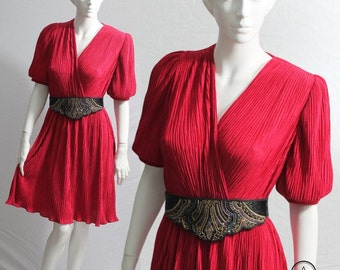 Red Dress, 80s Dress, Vintage Red Dress, Dress Pleats, Puff Sleeves, Ruffled Dress, Party Dress, Size S, UK 8/10, House of Nu-Mode,