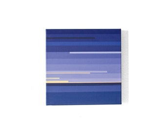 Navy Blue Sunset Painting, 10 x 10 Abstract Art by YtterbergStudio