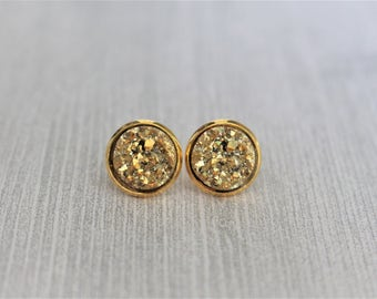 Gold Druzy Earrings - Gold Stud Earrings - Faux Druzy - Drusy - 12mm Studs - Bridesmaid Gift - Bridesmaid Jewelry - Gifts for Her - 8mm
