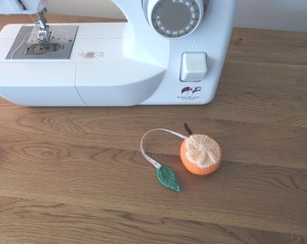 Orange Pin Cushion/Covered Retractable Tape Measure, #OOAK, Hand knitted