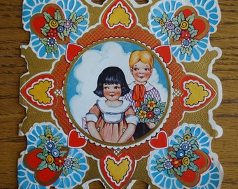Antique 1920's Valentine Greeting Card, Young Couple, Whitney Made USA, Unusual Colors & Edge, Valentine's Day, Collectible Holiday Ephemera