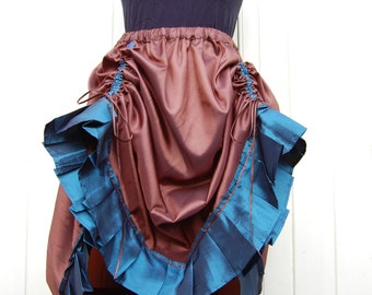 Steampunk Skirt in Brown and Teal Taffeta