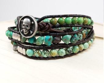 Turquoise silver & leather wrap bracelet