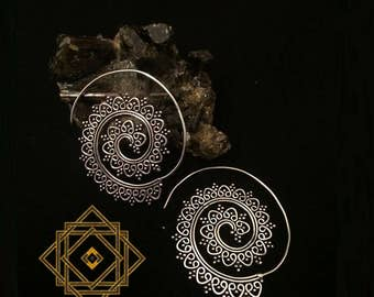 "EARRING ""GYPSY SPIRALS"", Brass or Silver Plated"