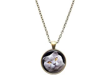 Gray cat pendant Animal necklace Pet jewelry