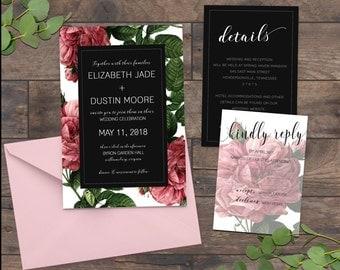Flower Wedding Invitations, Vintage Rose Wedding Invitation, Garden Wedding Invitation, Greenery Wedding - 065