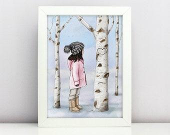 Cozy Winter Woodland Nursery Printable Little Fashion Girl Print Birch Tree Digital Print Cute Winter Scene Kids Wall Art Girl Room