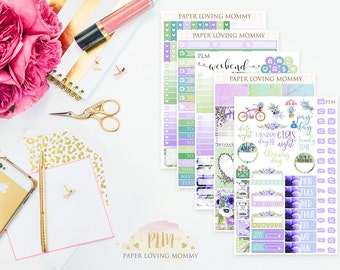 Fresh Lavender Weekly Kit | Planner Stickers | Floral Stickers | Planner Stickers designed for use with the Erin Condren Life Planner