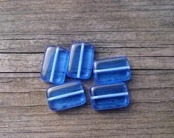 Cobalt Blue Rectangle Czech Glass Beads x 5 (Destash)