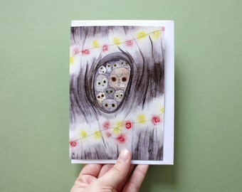 Pretty greeting card illustrated without a message. Owls and owls in watercolor. Christmas. New year. Birthday.