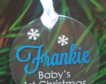 Baby's 1t Christmas Personalized Glass Flat Ornament