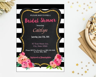 floral bridal shower invitation black u0026 white flower couples shower invite jack and jill