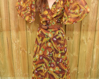 Vintage seventies orange and mustard bell sleeved floral maxi dress