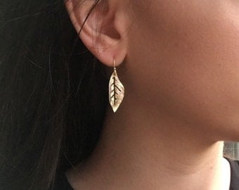 Matte Gold-Plated Leaf Earrings, Simple Gold-plated Leaf Drop Earrings in Matte, Brushed Texture