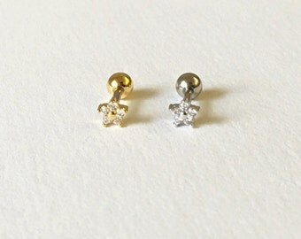 Small Sparkly Flower(4mm) Barbell Cartilage,Tragus,Helix,Conch,Ear Piercing 16 Gauge(EPC-129),Surgical Steel, Available in Silver, Gold