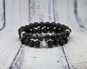 Lucky bracelet black men bracelet lava rock stone stacking bracelet boyfriend gift beaded bracelet groomsmen jewelry good luck bracelet
