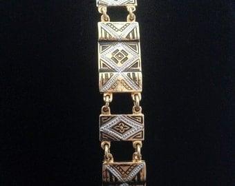 SALE! Vintage Damascene Bracelet, Panel Link Bracelet, Art Deco Design, Geometric Pattern, Gold Black White Vintage Bracelet Vintage Jewelry