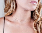 Rose Gold Choker Necklace, Minimalist Necklace, Short Necklace, Layered Choker, Double Chain Necklace, Dainty Necklace, Delicate Choker