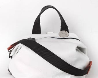 Leather white convertible backpack