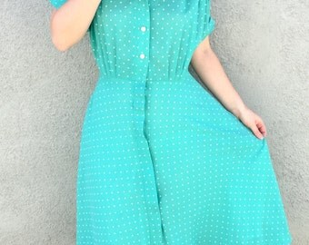 Vintage Dress - 1950s Dress - 50s Dress - Dress with Pockets - Button Down Dress - Vintage 50s Dress - Green White Polka Dot - 50s Day Dress
