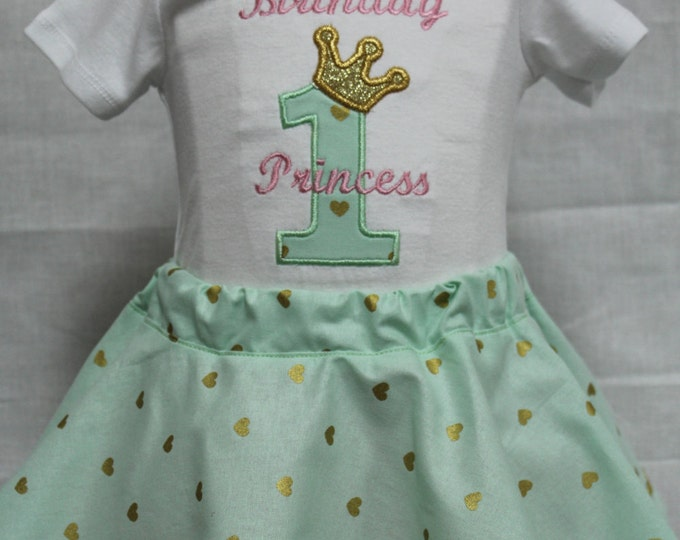 Baby girl Princess birthday,girl 1st birthday,First birthday girl outfit, Mint green and gold,pink,Twirl skirt, birthday bodysuit,pink crown