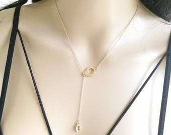 Handcuff Necklace, Handcuff Initial Necklace, Lariat Necklace, Lariat Initial Necklace, Handcuff Lariat, Initial Lariat, Dainty Lariat