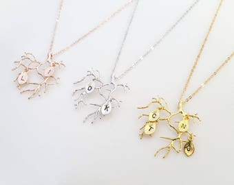 Personalized Branch Necklace, Gold Tree Necklace, Family Tree Necklace, Rose gold tree necklace, Gift for Mom, Mother's Day Gift