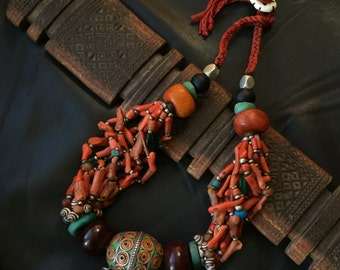 BERBER NECKLACE,Tagmout necklace,Berber coral necklace,ethnic jewelry,Berber silver,African jewelry,African necklace