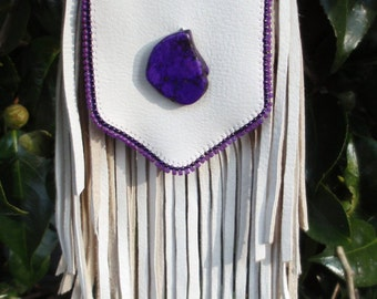 Native American Inspired, Off-white, Beaded Deerskin V-shaped Medicine Bag