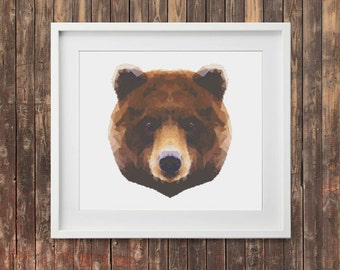 Bear Grizzly Bear Cross Stitch PDF Pattern