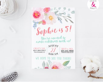 5th Birthday Girl Invitation, Watercolor Flowers, Coral, Mint [320]