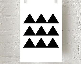 Giclee Print Minimalist Art Geometric Wall Art Decor Black White Triangles Scandinavian Poster Nordic Minimal Home Decor Shapes Kids Room