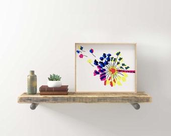 Like Grass Screen Print / CMYK Dandelion / UNFRAMED Art Print / 8.5 x 11 in