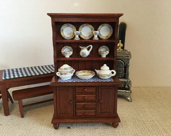 ON SALE Mahogany Hutch with all the accessories for 1:12 Scale Dollhouse