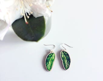 Mismatched Earrings Leaf Design, green banana leaves laser cut wooden charm jewellery with Sterling Silver hooks, unique summer accessory