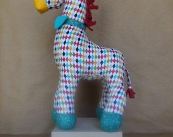 Stuffed Giraffe Toy in Colorful Harlequin Geometric