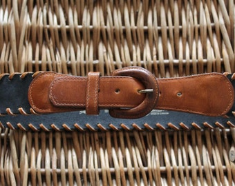 Black Brown Leather Belt Small / Black Leather Belt / Brown Leather Belt/ Woven leather belt