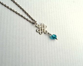 Personalized Birthstone Crystal Chinese knot Pendant Charm Necklace