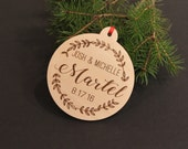 Personalized Christmas Ornament, Engraved Ornament, Christmas Tree, Rustic Ornaments, Christmas Decorations, Wedding, Gifts, Engagement