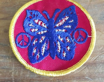 Vintage  Patch   Vintage Butterfly  Patch for Jackets and Vests     Design of Butterfly with Peace Signs  1970 Vintage Patch