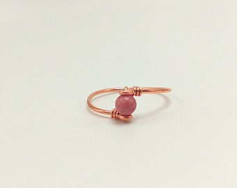 Pink rhodocrosite Dainty gold silver copper rose gold Gypsy Bohemian Jewelry minimalist