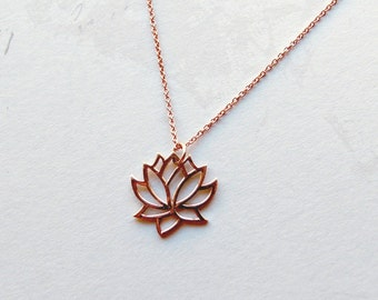 Rose gold lotus necklace tiny lotus necklace yoga necklace rose gold lotus pendant buddhist necklace gifts for her mozeypictures Image collections