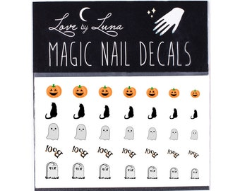 Halloween Nail Decals 2 / Cute Halloween Nail Decals / Spooky Nail Decals /  Pumpkin Nail