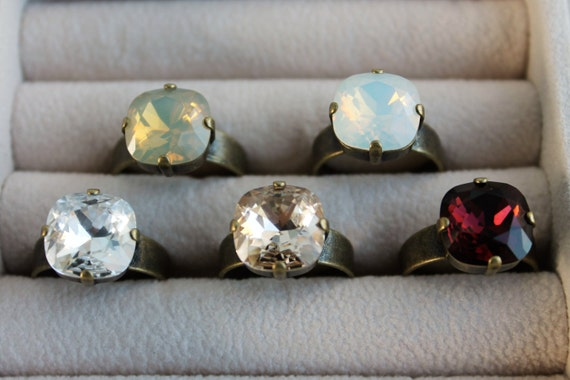 Antique Gold 12mm Cushion Cut Swarovski Crystal Rings in your choice of Light Silk, Crystal, Burgundy, White Opal or Sand Opal
