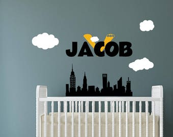 Batman Wall Decal - Boy Name Wall Decal - Removable Vinyl Wall Decal