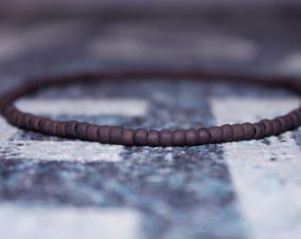 Brown Beaded Bracelet for Boyfriend - Friendship Bracelet for Surfer - Seed Beaded Bracelets, Mens gift for him Husband Gift