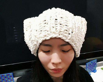 Super Slouchy Oversize Cat Beanie in Cream white