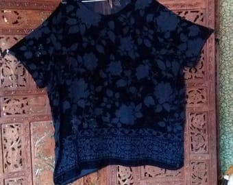 deep blue velvet devore top