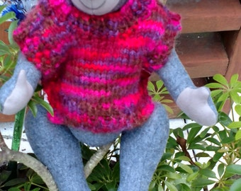 Emilio - Handmade, fully jointed bear with poncho